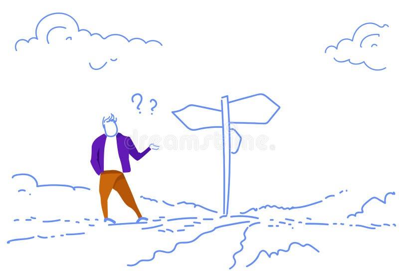 O sinal de estrada ereto do homem de negócios confuso escolhe a garatuja do esboço dos pontos de interrogação da seta do quadro i ilustração do vetor