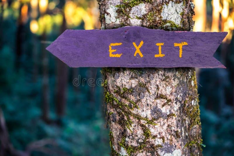 O sinal de madeira da saída está na árvore na floresta imagens de stock royalty free