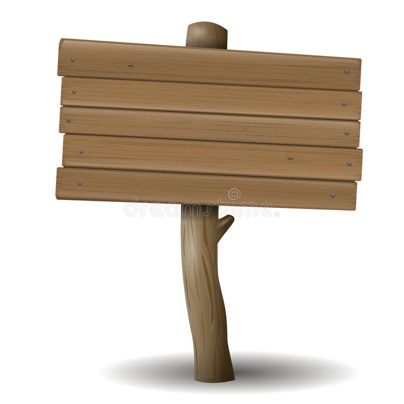 O sinal de madeira velho ilustração stock