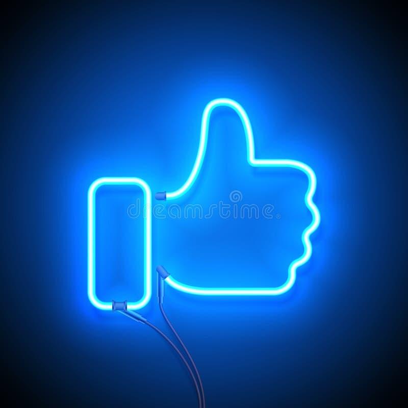 O sinal de néon gosta ilustração royalty free