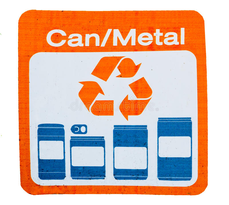 O sinal de recicl pode e metal fotografia de stock
