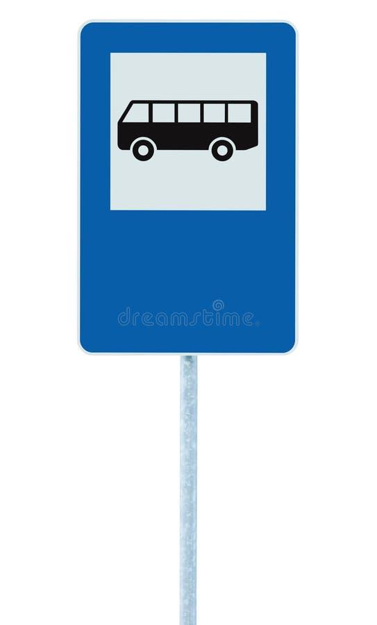 O sinal de rua da parada do ônibus no polo do cargo, roadsign da estrada do tráfego, azul isolou o signage, espaço vazio da cópia fotos de stock