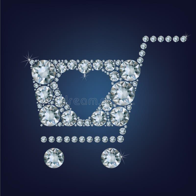 O sinal do cesto de compras fez muitos diamantes ilustração do vetor