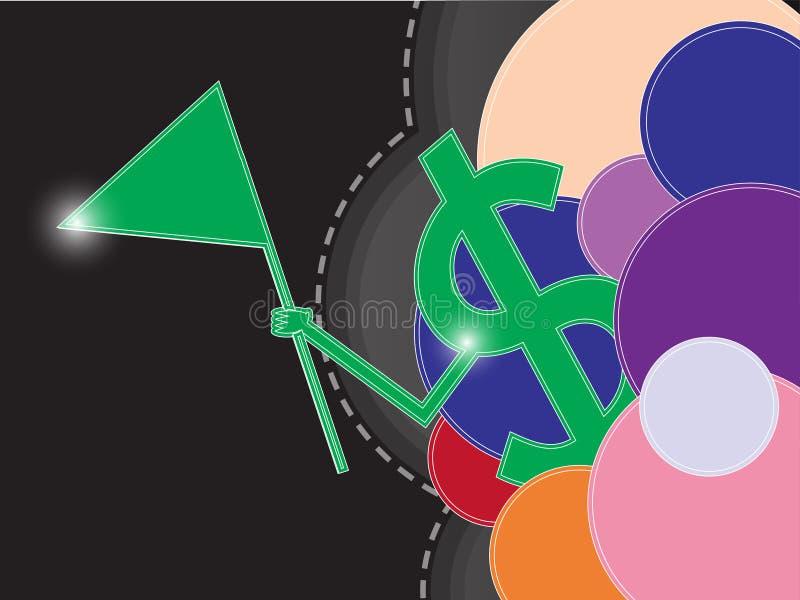 O sinal do dinheiro caçoa a bandeira abstrata da cor ilustração stock