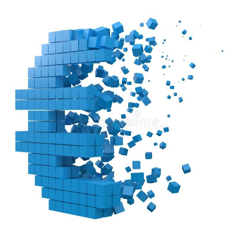 O sinal do Euro deu forma ao bloco de dados versão com cubos azuis ilustra??o do vetor do estilo do pixel 3d ilustração stock