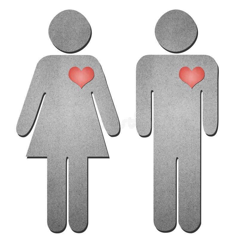 O sinal do homem e da mulher recicl o papel ilustração royalty free