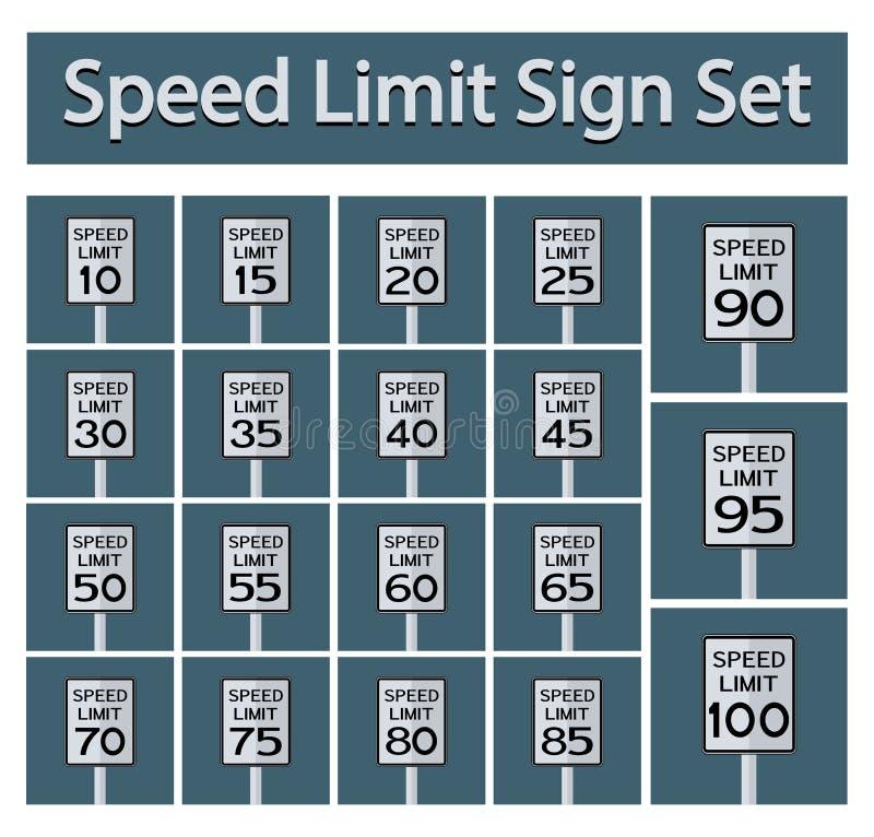 O sinal do limite de velocidade ajustou o isolado no fundo preto, ilustração EPS do vetor 10 ilustração royalty free