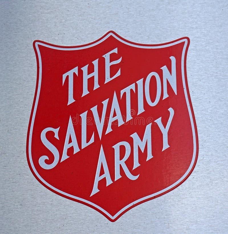 O sinal do logotipo do exército de salvação em uma da ajuda centra-se imagem de stock