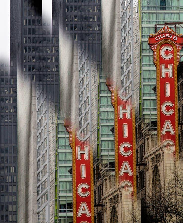 O sinal do teatro de Chicago--Repetido fotos de stock