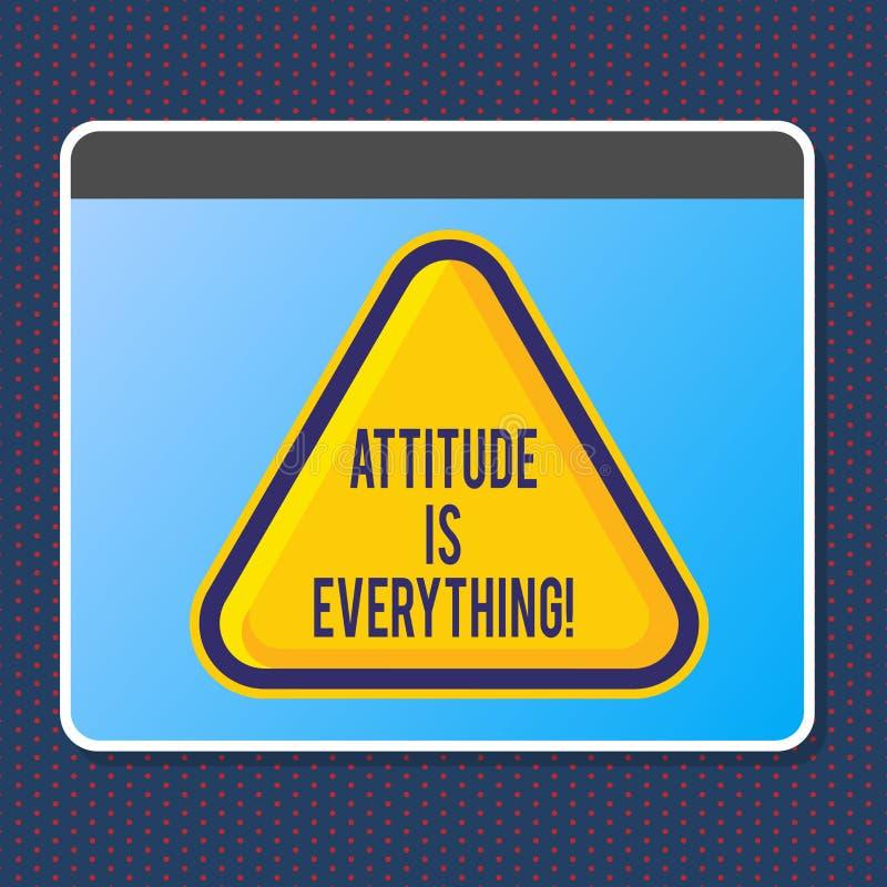 O sinal do texto que mostra a atitude é tudo Comportamento pessoal da orientação da perspectiva da probabilidade da foto conceptu ilustração do vetor
