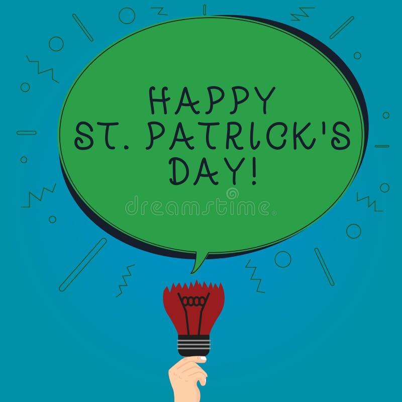O sinal do texto que mostra St Patrick feliz S é dia Os encantos afortunados e os trevos do verde conceptual da celebração da Irl ilustração do vetor