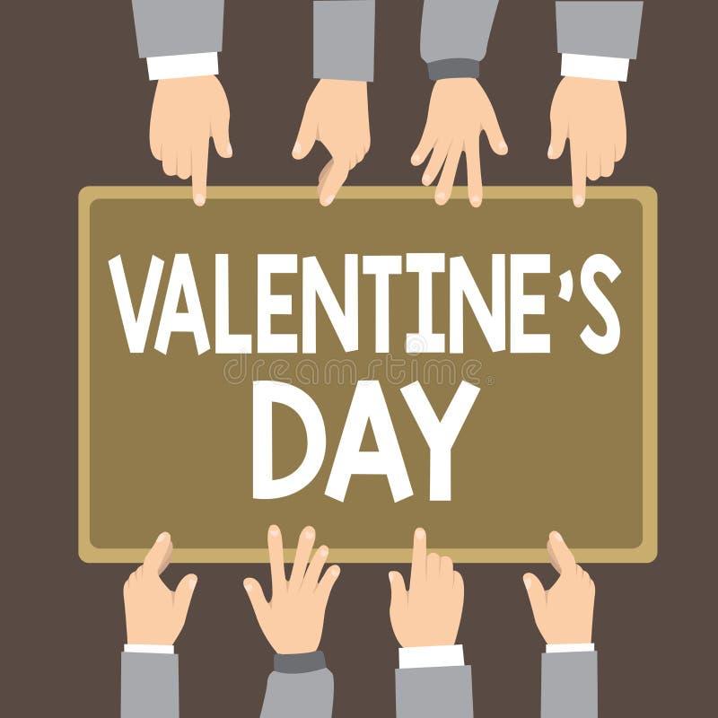 O sinal do texto que mostra o Valentim s é dia Tempo conceptual da foto em que os povos mostram sentimentos do amor e da afeição ilustração stock