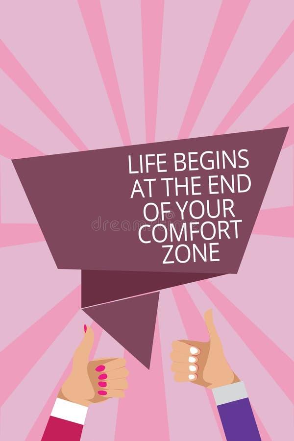 O sinal do texto que mostra a vida começa no fim de sua zona de conforto A foto conceptual faz mudanças evoluir cresce os polegar ilustração royalty free