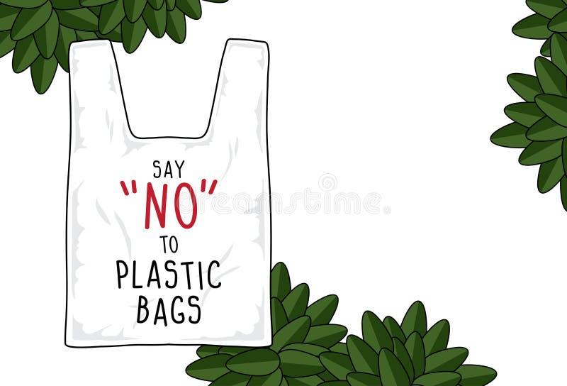 O sinal do vetor, diz não aos sacos de plástico ilustração do vetor