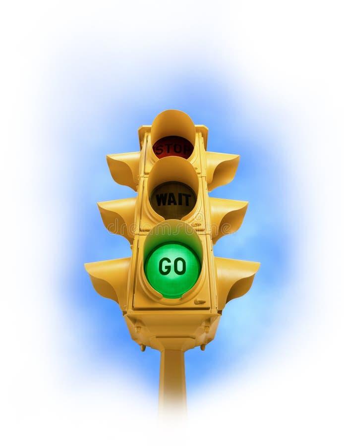 O sinal do vintage com verde VAI luz na vinheta branca imagem de stock