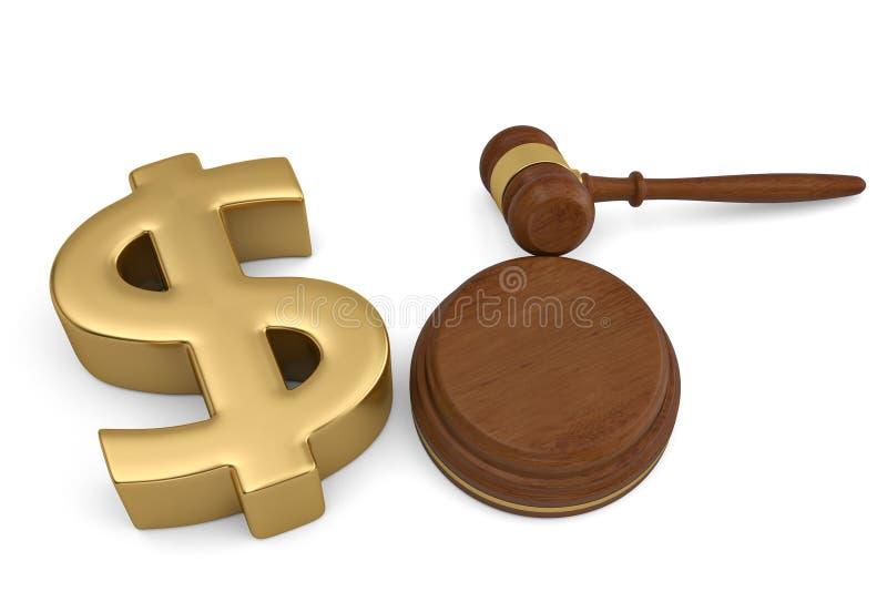 O sinal e o leilão dourados de dólar martelam no fundo branco 3d IL ilustração stock