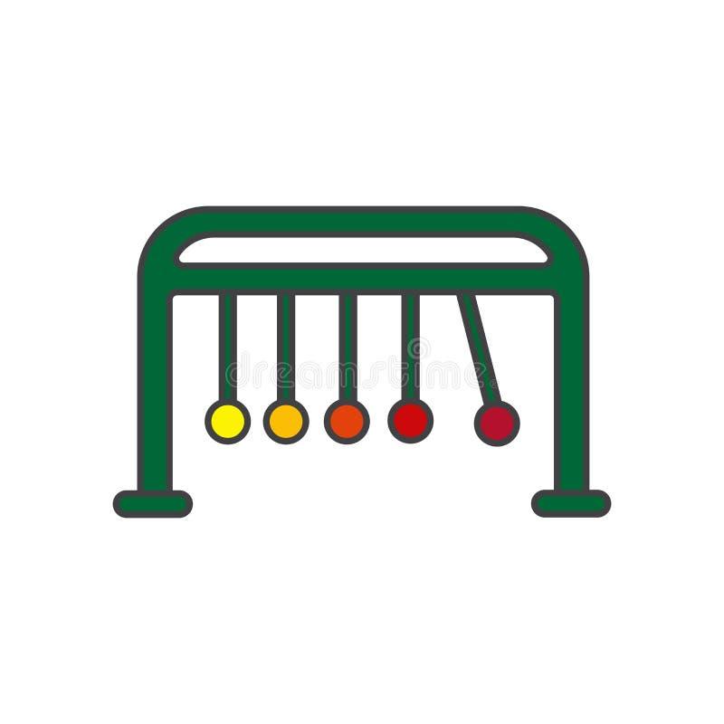 O sinal e o símbolo do vetor do ícone do berço dos newtons isolados no fundo branco, newtons embalam o conceito do logotipo ilustração stock