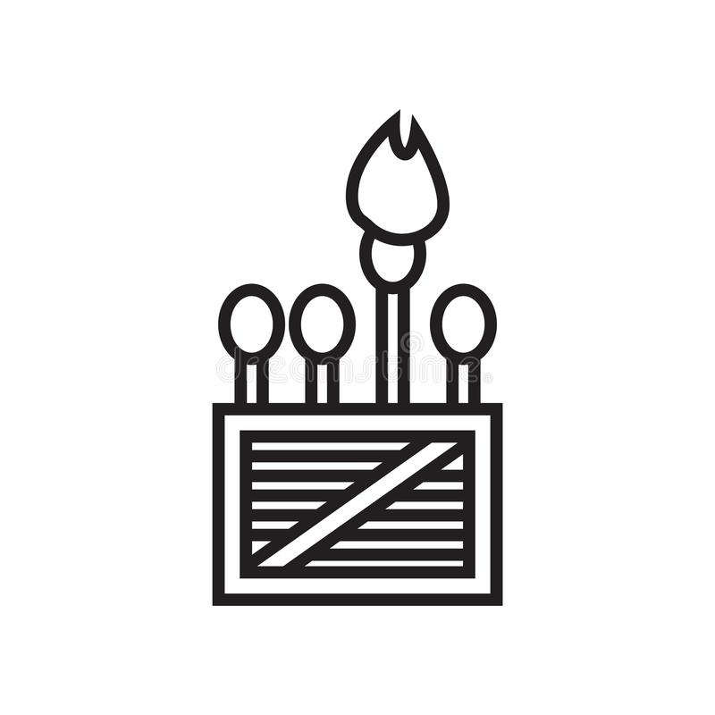 O sinal e o símbolo do vetor do ícone dos fósforos isolados no fundo branco, combinam o conceito do logotipo ilustração do vetor
