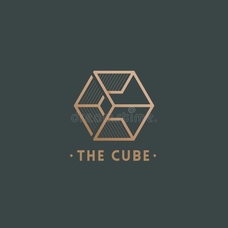 O sinal, o emblema ou o Logo Template do vetor do sumário do cubo Letra C incorporada em um s?mbolo da geometria com tipografia ilustração do vetor