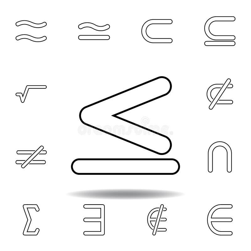 o sinal ? menos do que e igual ao ?cone Linha fina ícones ajustados para o projeto do Web site e o desenvolvimento, desenvolvimen ilustração do vetor