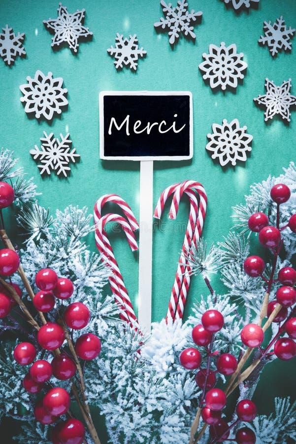 O sinal preto vertical do Natal, luzes, meios de Merci agradece-lhe foto de stock