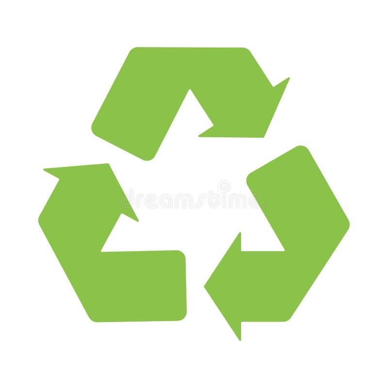 O sinal recicla o fundo branco do verde do ícone do logotipo ilustração do vetor