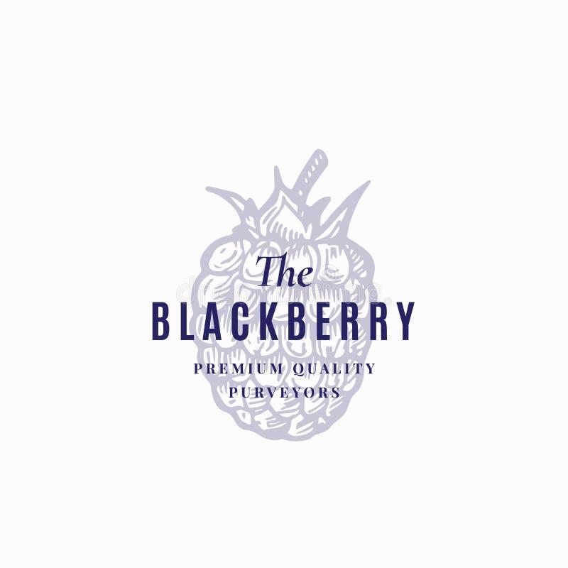 O sinal, o símbolo ou o Logo Template do vetor do sumário de Blackberry Berry Sketch Sillhouette preto com retro elegante ilustração do vetor