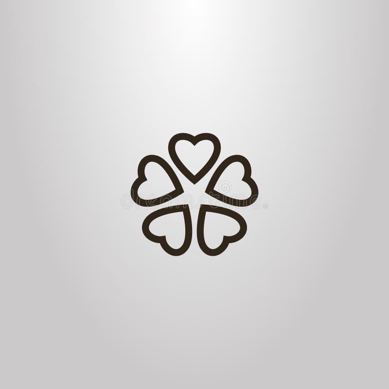 O sinal simples da flor do vetor de cinco coração-deu forma às pétalas ilustração do vetor