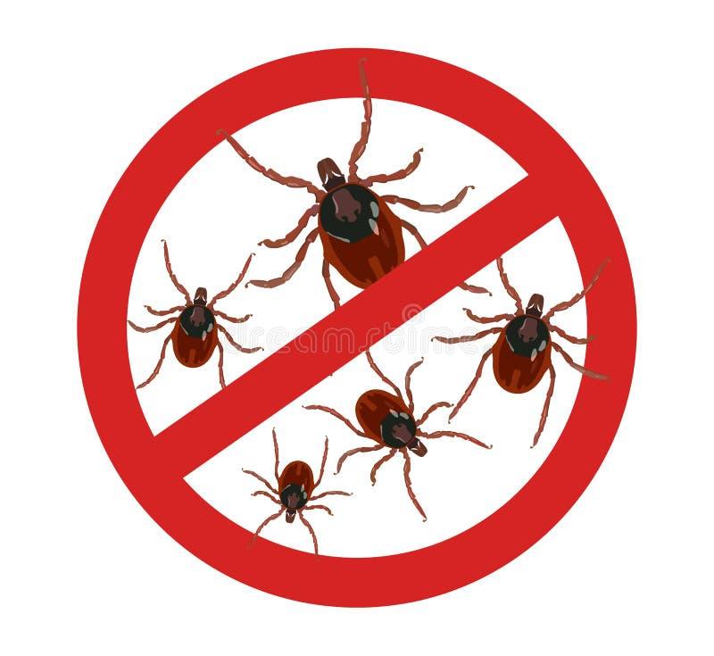 O sinal vermelho da parada tiquetaqueia com cuidado Parasita do inseto Ilustra??o do vetor ilustração stock