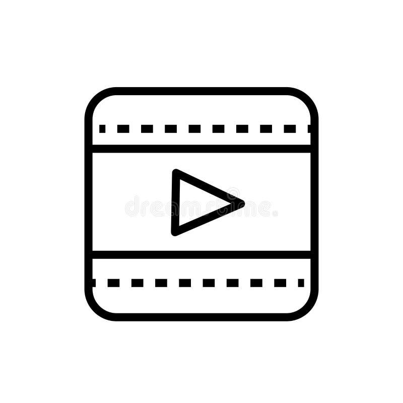 O sinal video e o símbolo do vetor do ícone do botão do jogo isolados no fundo branco, jogam o conceito video do logotipo do botã ilustração do vetor