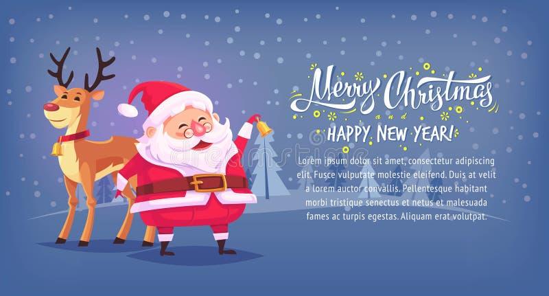 O sino de soada de Santa Claus dos desenhos animados bonitos com Feliz Natal da rena vector a bandeira horizontal da ilustração ilustração royalty free