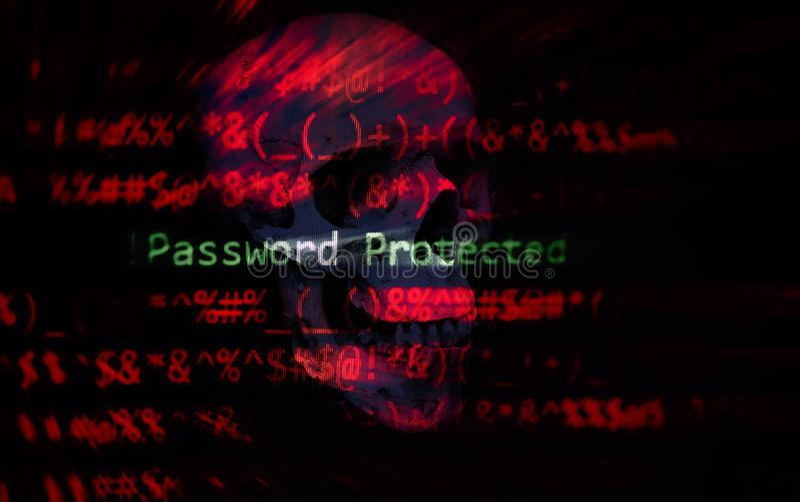 O sistema de dados da verificação da proteção do ladrão do cyber da segurança da senha/senha protegeu o corte foto de stock royalty free