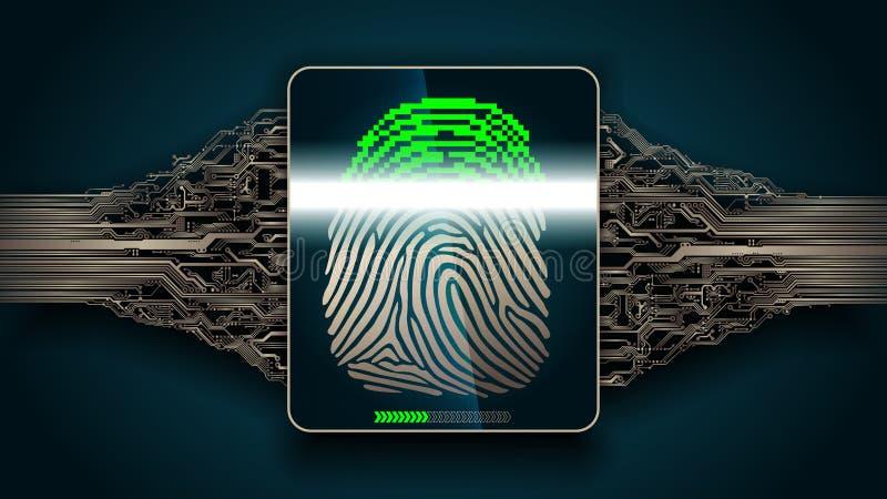 O sistema de exploração da impressão digital - segurança biométrica digital ilustração stock