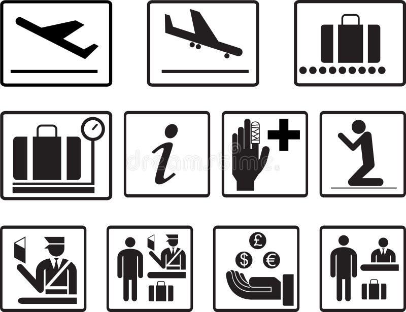 2.o sistema del vector de los iconos del aeropuerto simple Iconos universales del aeropuerto a utilizar para la información, líne ilustración del vector