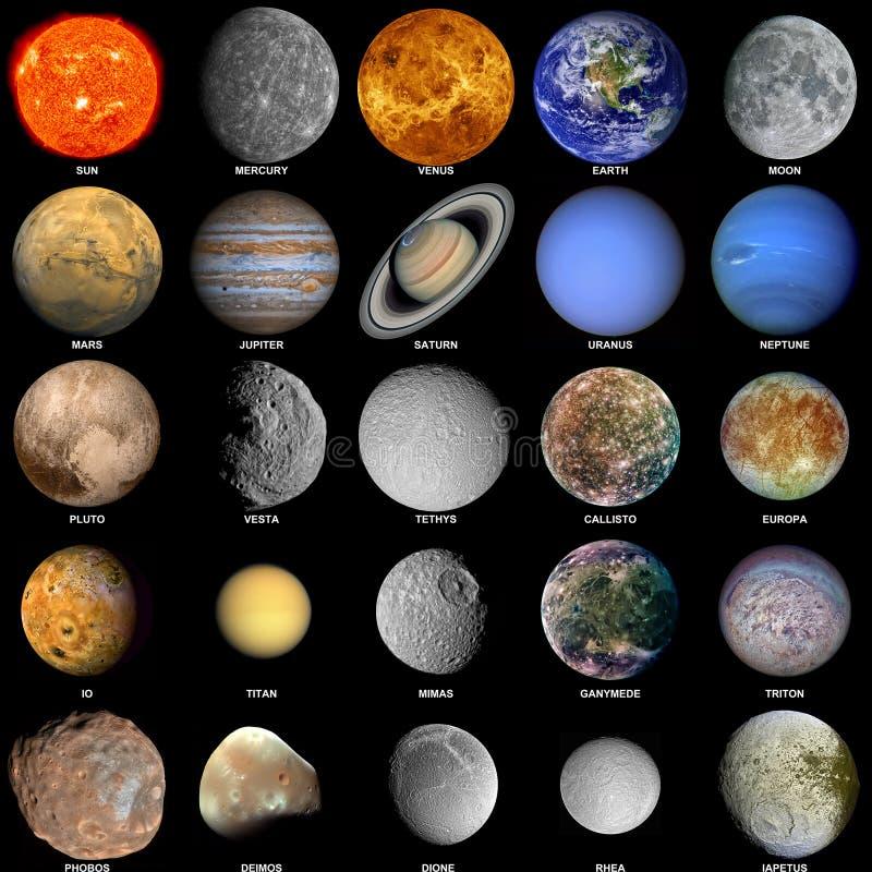 O sistema solar actualizado fotos de stock