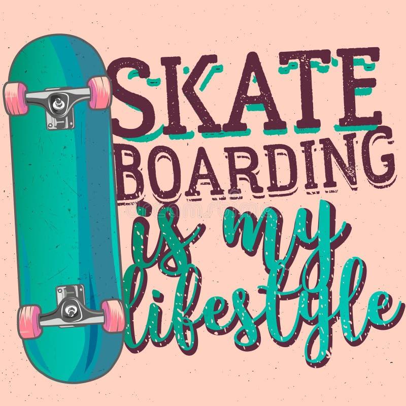 O Skateboarding é meu liferstyle ilustração stock