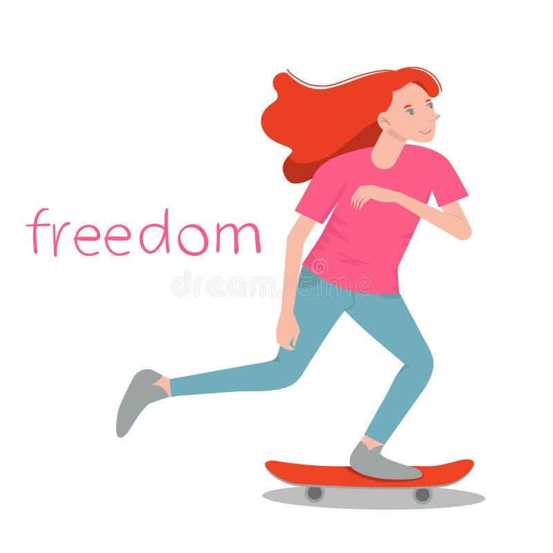 O skater da menina Menina da beleza com ressaca vermelha do cabelo no skate Ilustração lisa objeto isolado ilustração stock