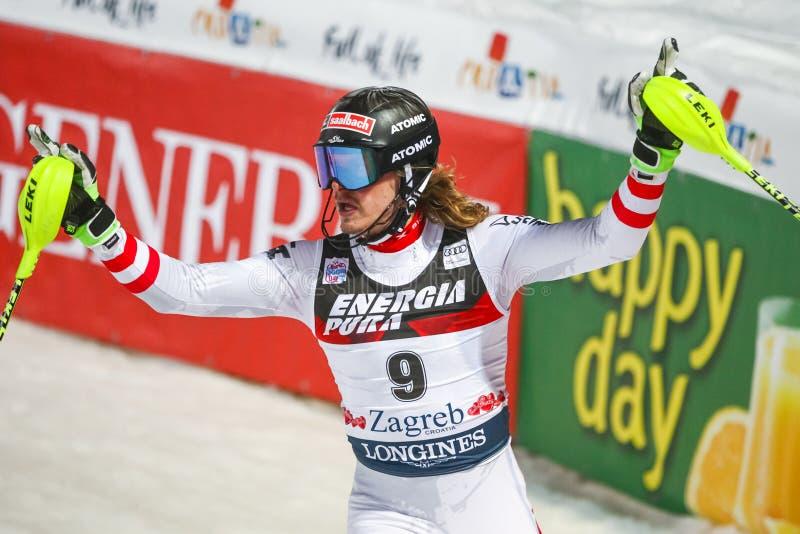 O slalom dos homens do campeonato do mundo de Audi FIS corre em segundo fotos de stock royalty free