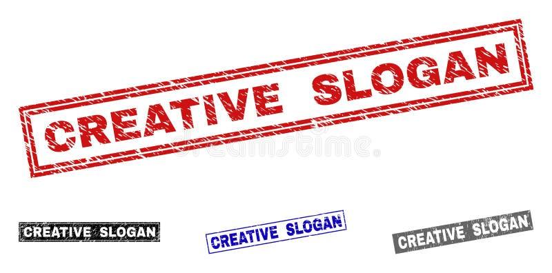 O SLOGAN CRIATIVO do Grunge Textured selos do selo do retângulo ilustração stock