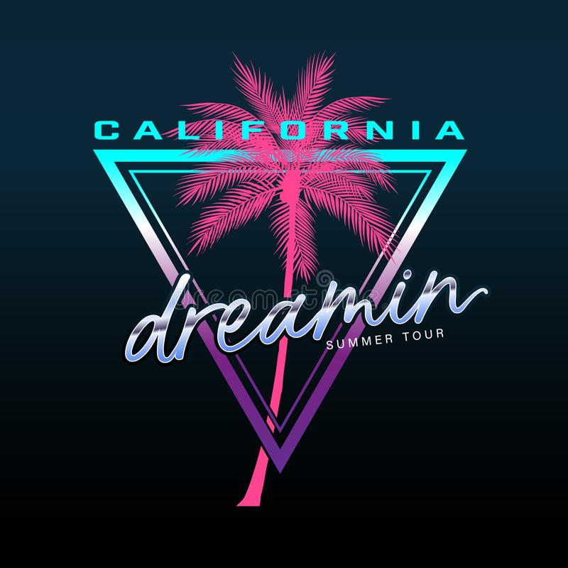 O slogan de Califórnia, tipografia da praia do verão, gráfico do t-shirt, slogan, imprimiu o projeto ilustração do vetor