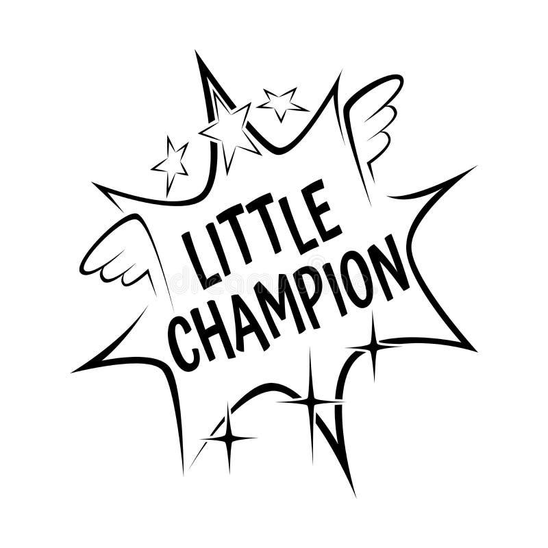 O slogan pequeno do campeão na explosão cômica acena no fundo branco ilustração do vetor