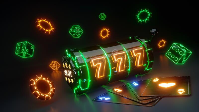 O slot machine de jogo do casino e corta o conceito com a de néon de incandescência isolada no fundo preto - ilustração 3D ilustração stock