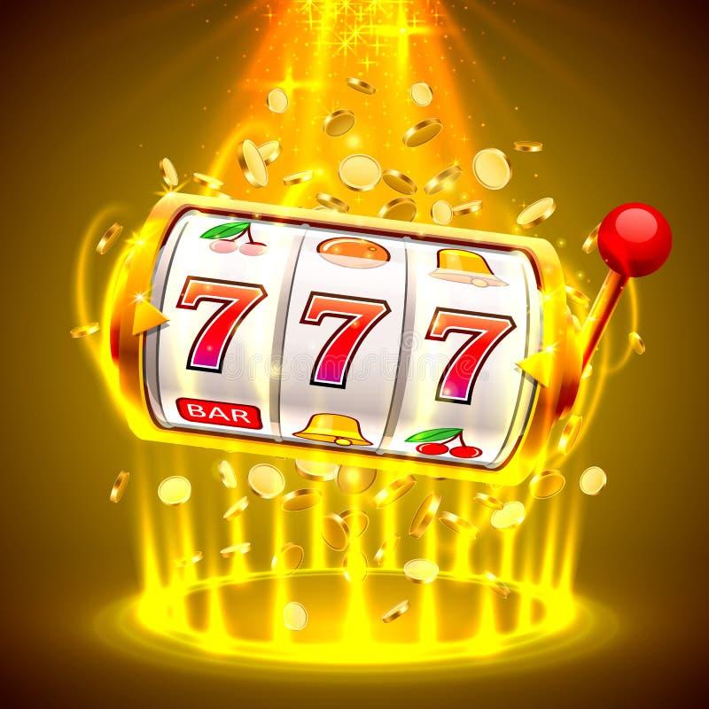 O slot machine do ouro ganha o jackpot A vit?ria grande entalha o casino de 777 bandeiras ilustração stock