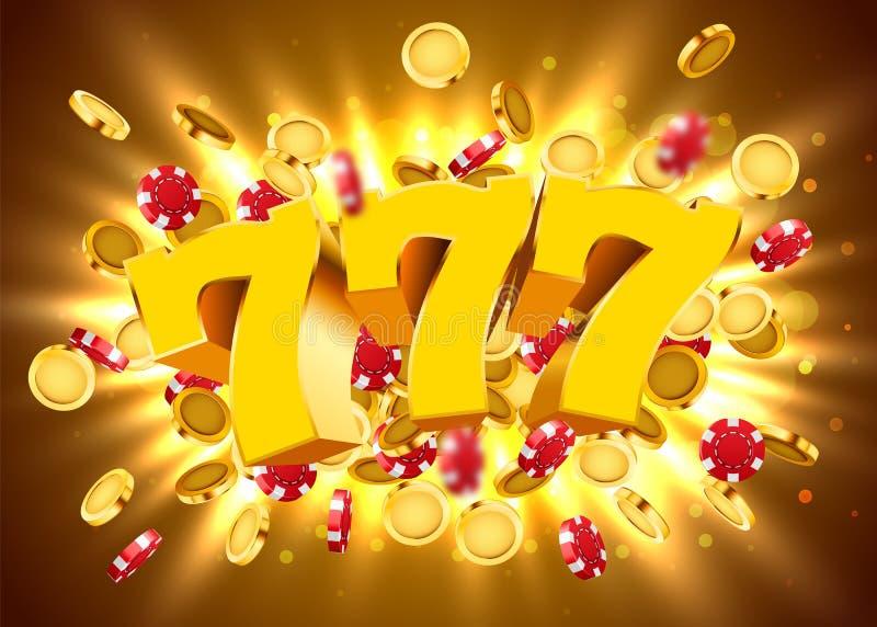 O slot machine dourado 777 com as moedas e as microplaquetas douradas do voo ganha o jackpot Conceito grande da vit?ria ilustração do vetor