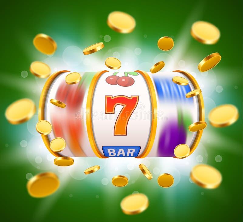 O slot machine dourado com voo de moedas douradas ganha o jackpot Conceito grande da vitória ilustração stock