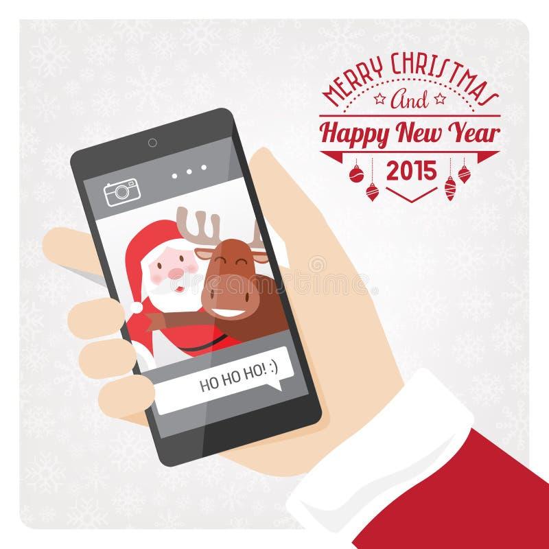 O smartphone de Santa ilustração stock