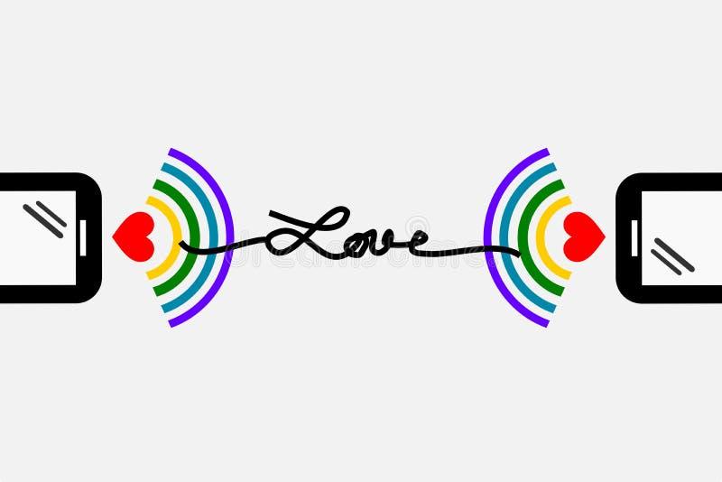 O smartphone dois conecta junto com o wifi e o ` do amor do ` da palavra ilustração stock