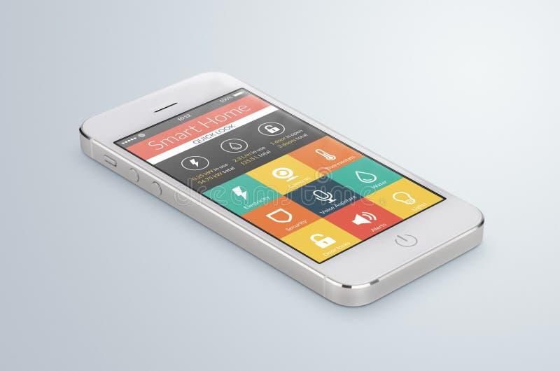 O smartphone móvel branco com aplicação home esperta encontra-se no ilustração royalty free