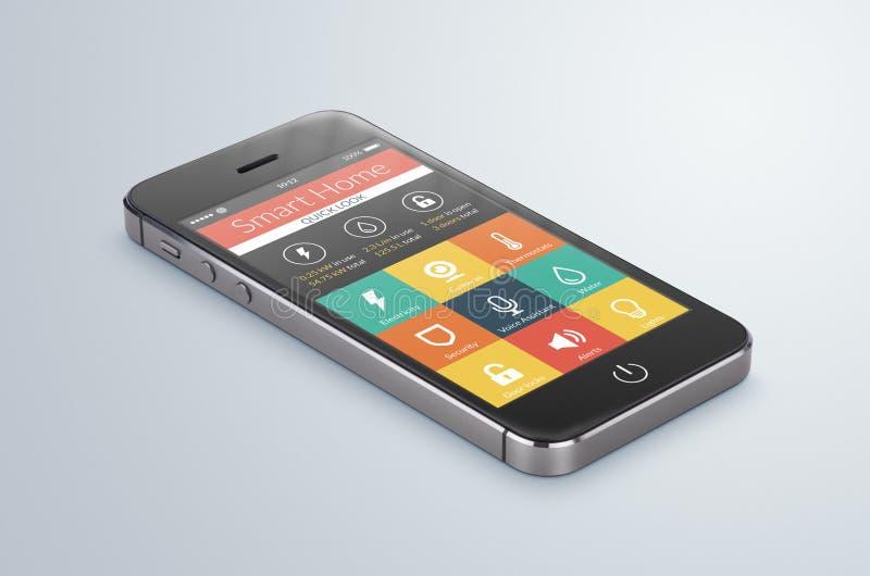 O smartphone móvel preto com aplicação home esperta encontra-se no ilustração do vetor