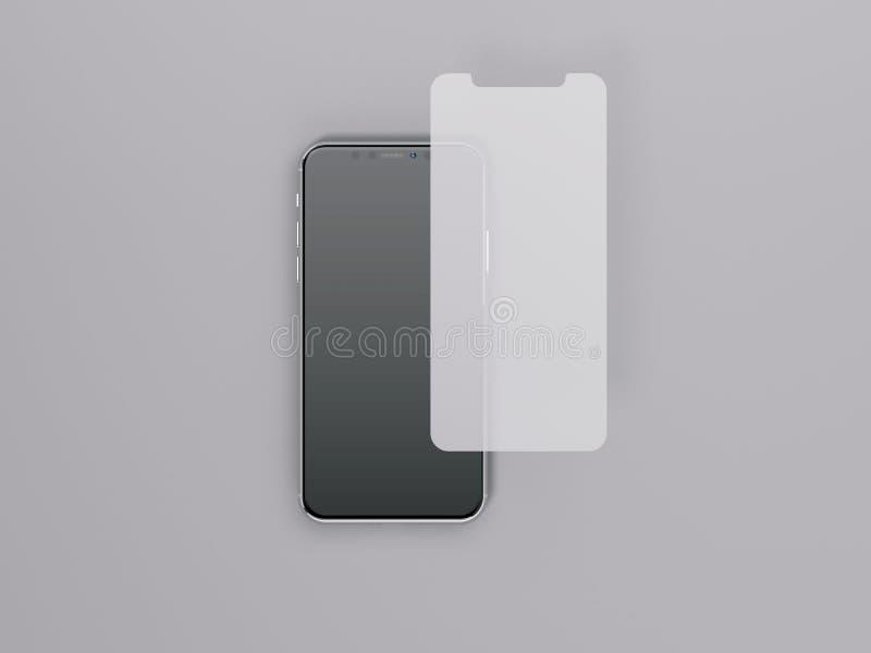 O smartphone moderno com tela protege o vidro rendição 3d ilustração royalty free